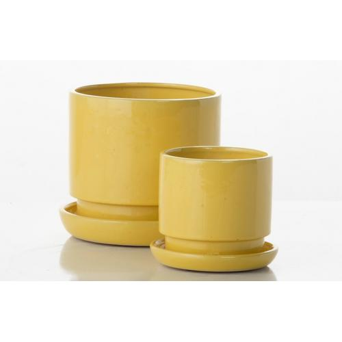 Alfresco Home - Brit Cylinder Petits Pots w/ attached saucer - Yellow (set of 2)