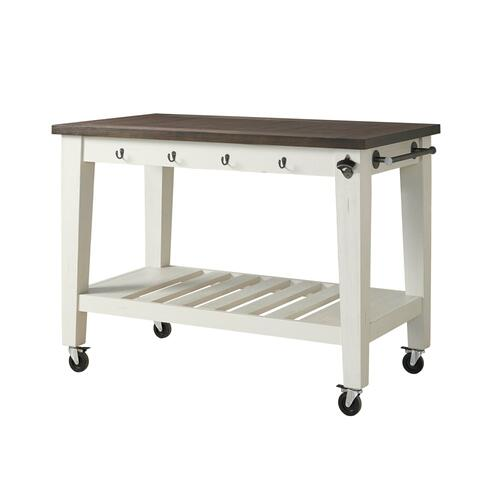 Cayla Two Tone Kitchen Cart, Dark Oak & White