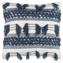 Blue & Natural Textured Lumbar Pillow with Fringe