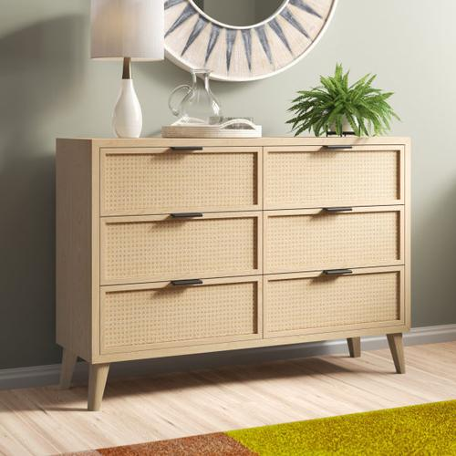 Accentrics Home - Cane Six Drawer Dresser in Brown