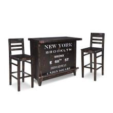 HH-8725  Graphic 3 Piece Wine Bar Set  12 Bottle  Storage