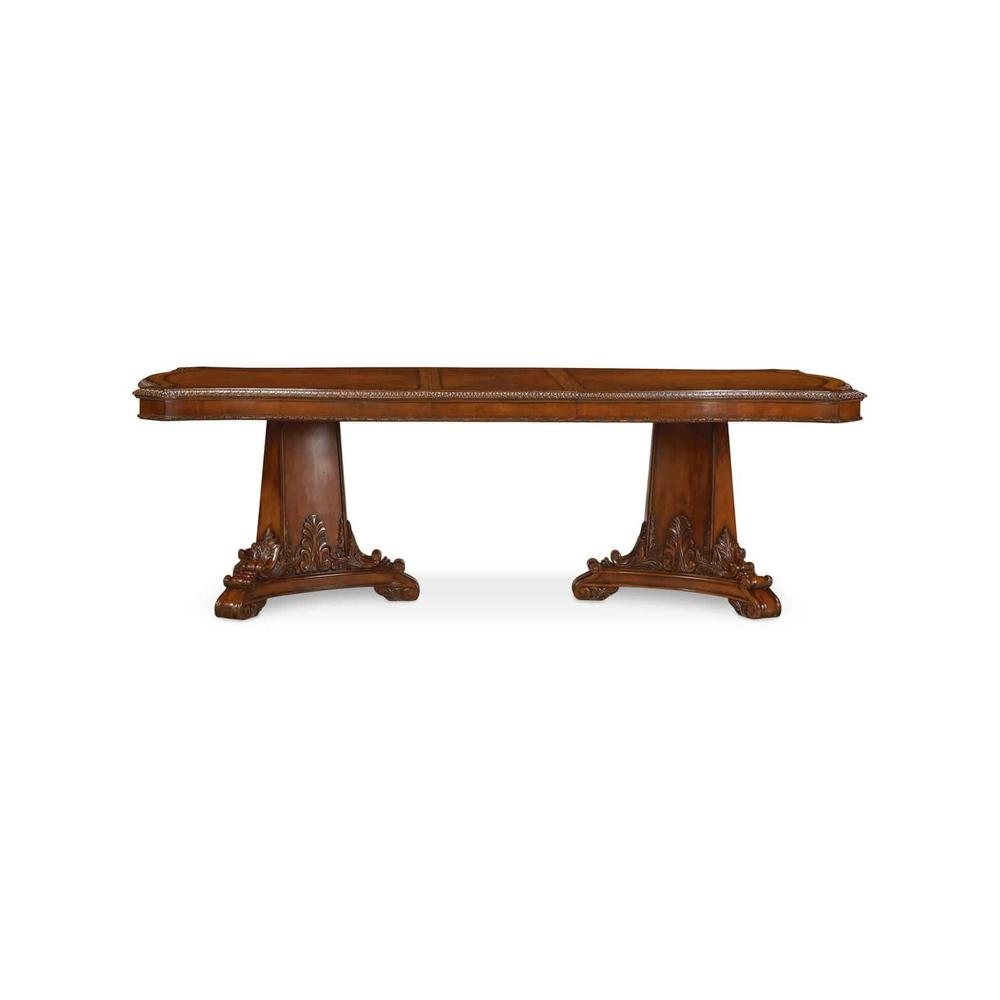 See Details - Old World Double Pedestal Dining Table
