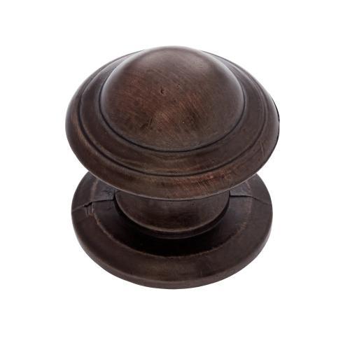 "Old World Bronze 1-1/4"" Knob w/Back Plate"