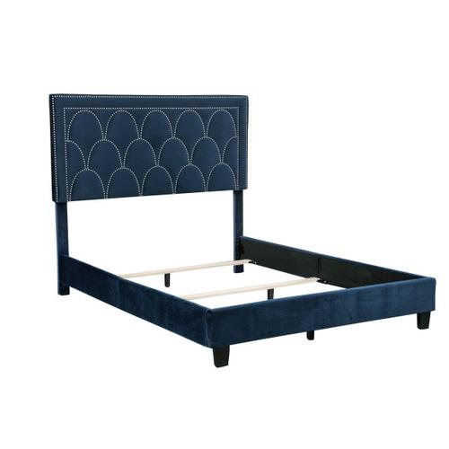 Art Deco Nailhead Arch Queen Bed in Navy