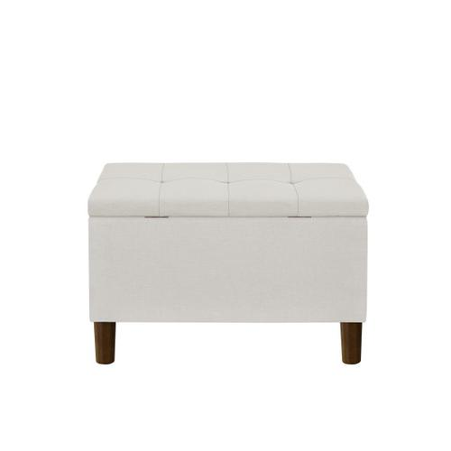 29 Inch Hinged Top Storage Bench w/ Grid-Tufted Seat in Light Gray