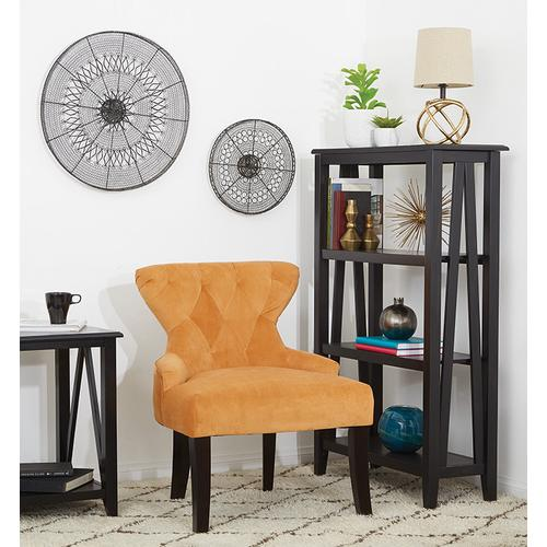Curves Hour Glass Accent Chair In Butternut Velvet Fabric With Espresso Legs