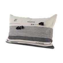Thalia 13L x 21W Dark Gray and Cream Fabric Striped and Fringed Decorative Pillow Cover