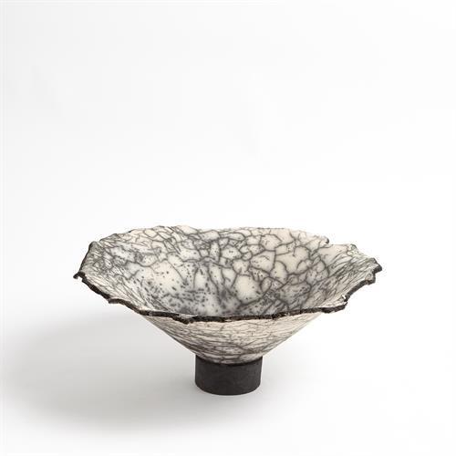 Crackled Footed Bowl-Black Raku