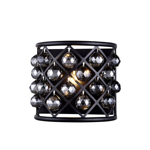 Madison 1 light Matte Black Wall Sconce Silver Shade (Grey) Royal Cut Crystal