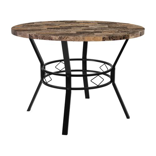 "Tremont 42"" Round Dining Table in Swirled Marble-Like Finish"
