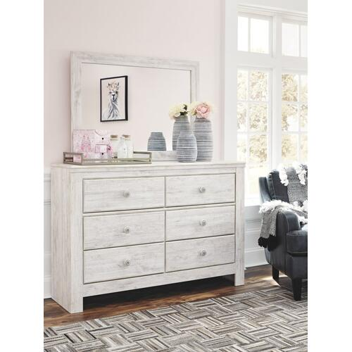 Queen Panel Bed With Mirrored Dresser, Chest and Nightstand