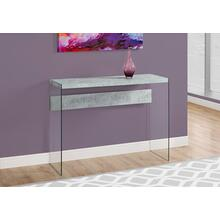 "ACCENT TABLE - 44""L / GREY CEMENT / TEMPERED GLASS"