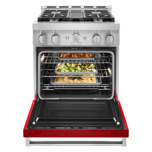 KitchenAid® 30'' Smart Commercial-Style Gas Range with 4 Burners - Passion Red