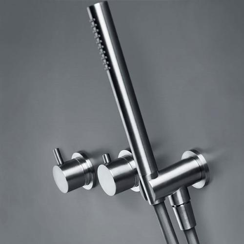 """INOX stainless steel wall-mount handshower with wall union & 60"""" Neoperl hose, Satin finish"""