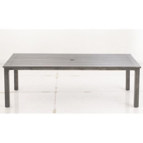 "Wentz 96"" x 43"" Rect. Dining Table w/ random width slats and umbrella hole"