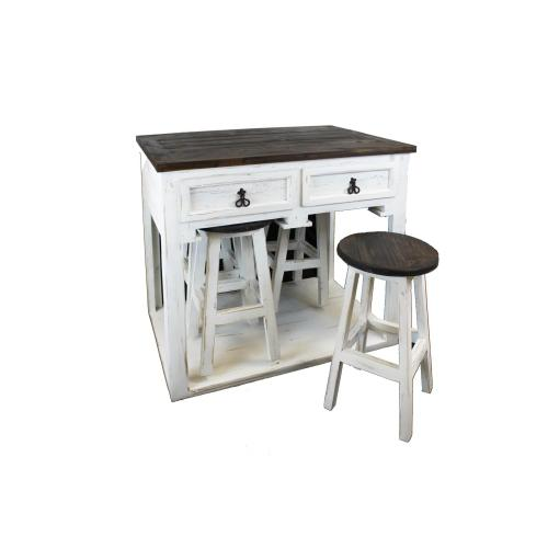 White Kitchen Island W/4 Stools