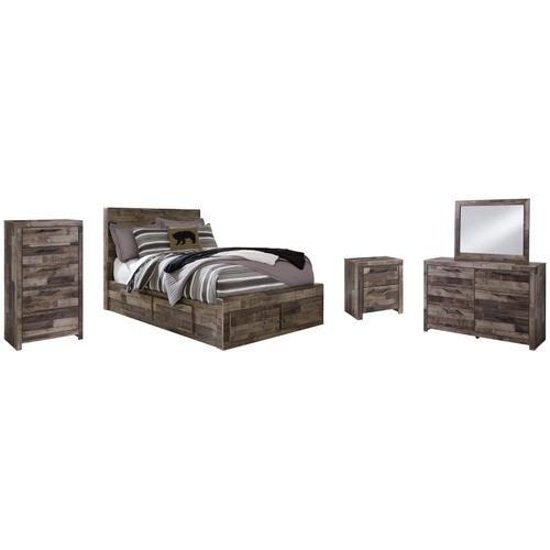 Ashley - Full Panel Bed With 6 Storage Drawers With Mirrored Dresser, Chest and Nightstand