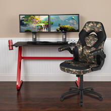 Red Gaming Desk and Camouflage\/Black Racing Chair Set with Cup Holder and Headphone Hook