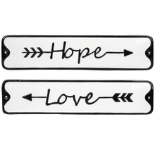 "Black & White Enamel ""Love & Hope"" Wall Decor (8 pc. ppk.)"