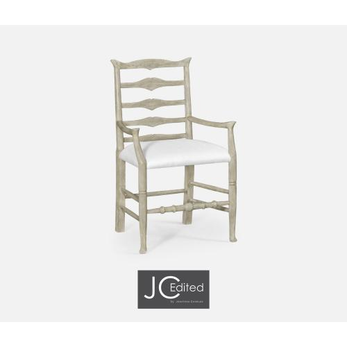 Rustic Grey Ladder Back Armchair, Upholstered in COM