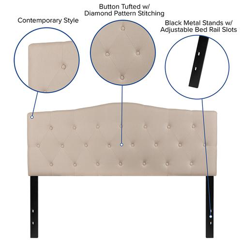 Flash Furniture - Cambridge Tufted Upholstered Queen Size Headboard in Beige Fabric