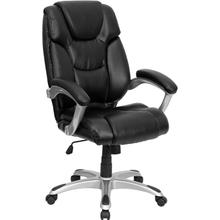 View Product - High Back Black LeatherSoft Layered Upholstered Executive Swivel Ergonomic Office Chair with Silver Nylon Base and Arms
