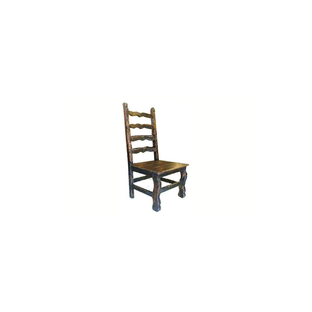 Factory 7 Scalloped Black Ladderback Chair