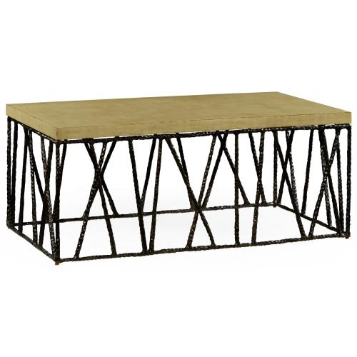 Hammered Antique Black Brass Coffee Table with Celadon Top