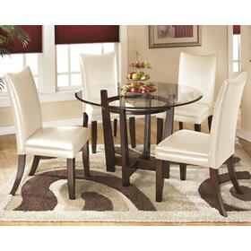 Charrell Table & 4 Chairs Medium Brown/Ivory