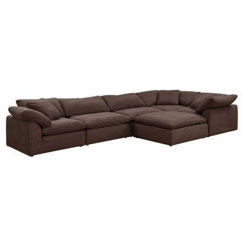 Cloud Puff Slipcovered Modular L Shape Sectional Sofa with Ottoman (6 Piece)