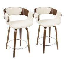Elisa Counter Stool - Set Of 2 - Walnut Wood, Cream Fabric, Chrome