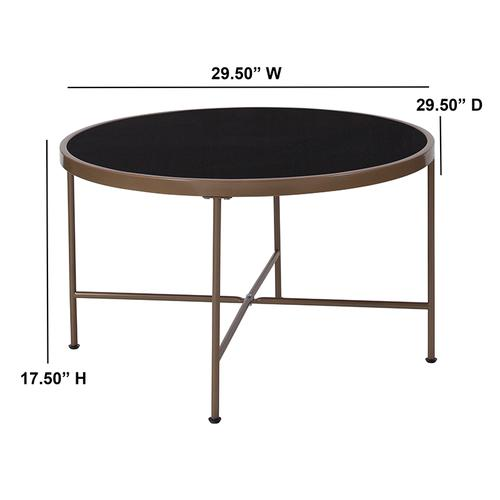 Flash Furniture - Chelsea Collection Black Glass Coffee Table with Matte Gold Frame