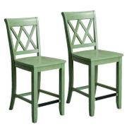 Vintage Distressed 2-Pack Green Counter Height Stools Product Image