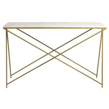 """Mischa 47"""" Console Table In White Marble With Matte Taupe Base"""