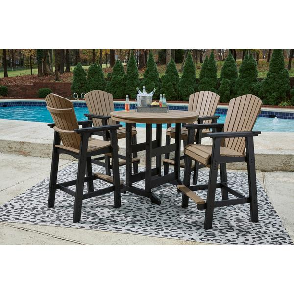 See Details - Outdoor Bar Table and 4 Barstools