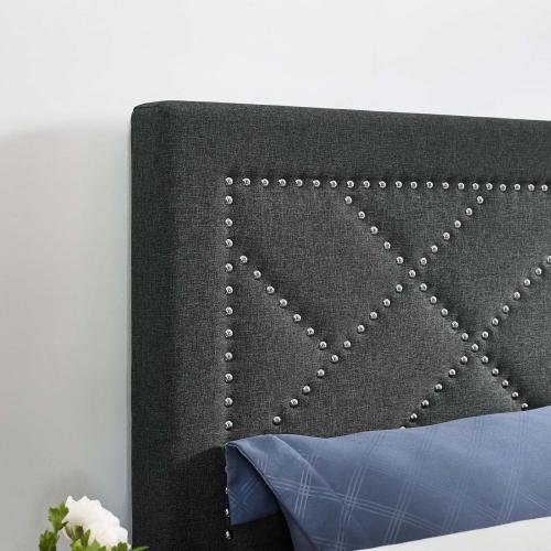 Reese Nailhead Full / Queen Upholstered Linen Fabric Headboard in Gray