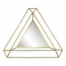 "Metal 34"" Triangle Mirror, Gold"