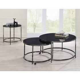 Rayne 3-Piece Set, Black(Nesting Cocktail & 2 End Tables)