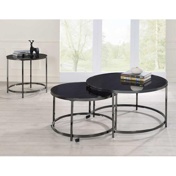 See Details - Rayne 3-Piece Set, Black(Nesting Cocktail & 2 End Tables)