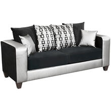 Riverstone Implosion Black Velvet Sofa with Black & Shimmer Steel Frame