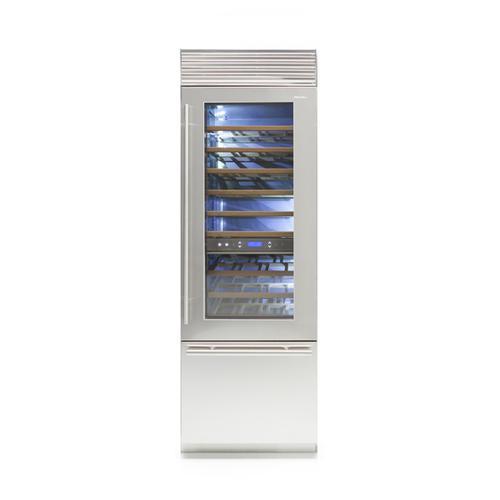 X-Pro (Width: 24in, Configures: 1 Door + 1 Bottom Drawer + 3 Separate Temperatures (1t), Functions: Wine Cellar, Finish: Glass, Opening: Left, Icemaker: No)