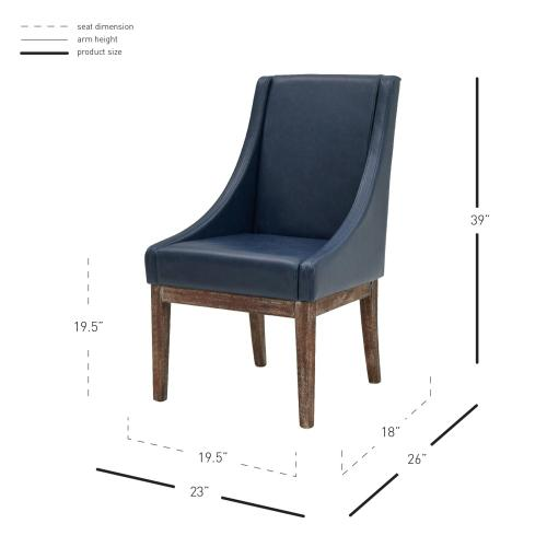 Houston Bonded Leather Chair Drift Wood Legs, Vintage Blue