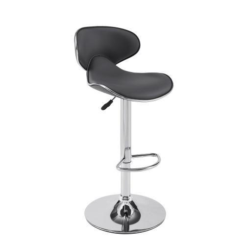 360-degree Swivel and Adjustable Barstool, Chrome Steel and Grey