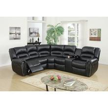 Esteve 3pc Reclining/motion Home Theater Sofa Set, Black-bonded-leather