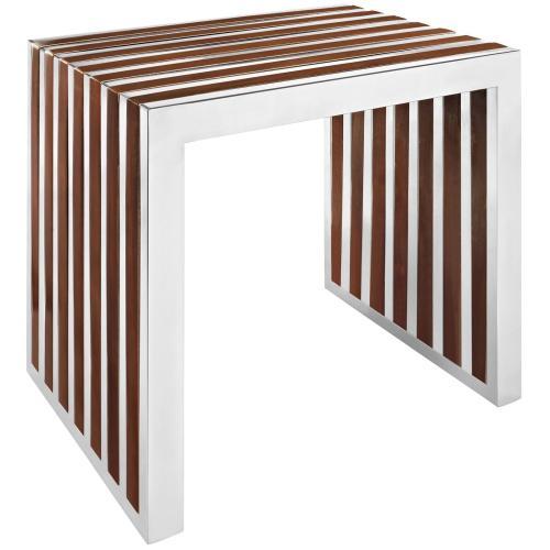 Modway - Gridiron Small Wood Inlay Bench in Walnut