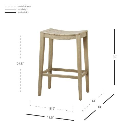 Elmo Wooden Bar Stool, Washed Gray
