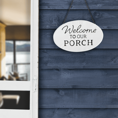 "Black & White Enamel ""Welcome to Our Porch"" Wall Sign"