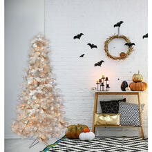 Fraser Hill Farm 5-Ft. Spooky Silver Tinsel Tree with Clear Incandescent Lighting, HH050TINTREE-1SIL