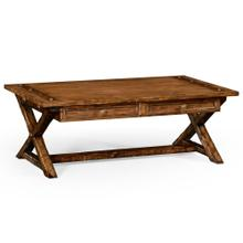 Country living style walnut coffee table