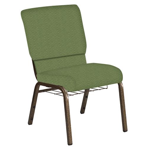 Flash Furniture - 18.5''W Church Chair in Fiji Seaspray Fabric with Book Rack - Gold Vein Frame